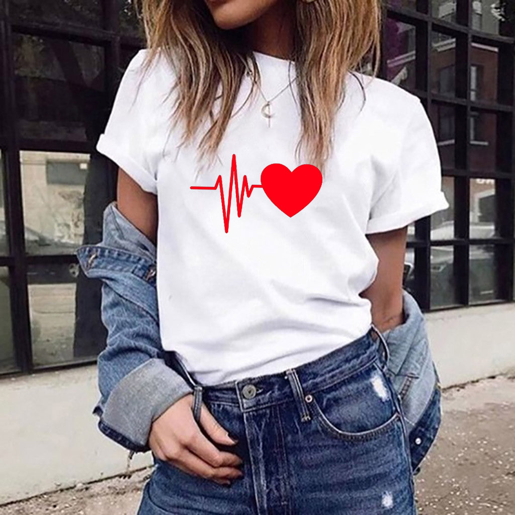 Heartbeat Tshirt - White/Red - Keturah Monae Fashion