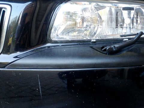 Faded car paint on 2009 Volvo bumper