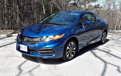 blue 2014 honda civic with painted bumper
