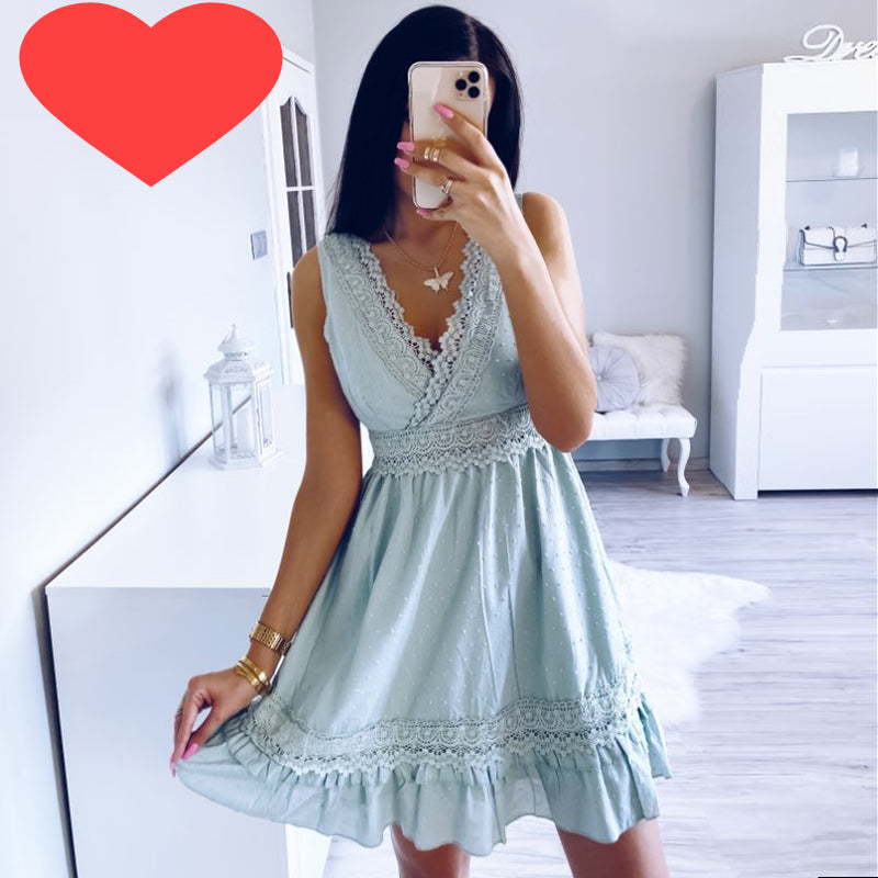 Simplee Sexy v-neck women summer cotton dress Sleeveless lace embroidery short sundress Summer beach ladies ruffle sexy dresses