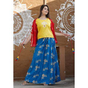 Women's Embroidery Inner Outer Kurti with Skirt