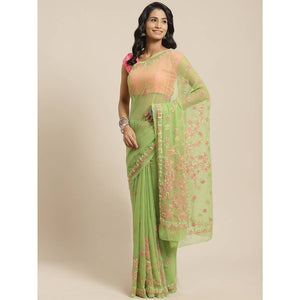 Women's Multicoloured Poly Georgette Printed Saree with Blouse piece