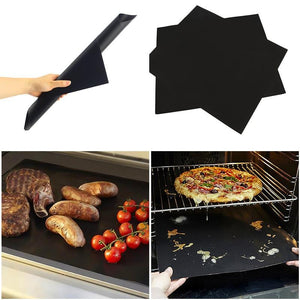 2pcs Non-stick BBQ Grill Mat Reusable Teflon Cooking Baking Pad (Black) - asheers4u