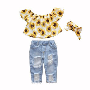Baby Girl Dress Sets T-shirt+Jeans Kids Clothes for 1 2 3 4 5 6 Year - asheers4u