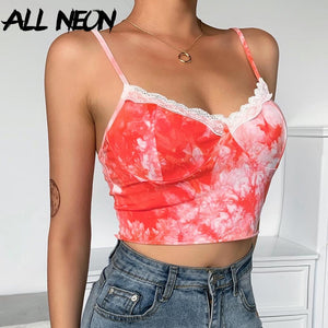 Neon E-Girls Summer Spaghetti Strap with V-neck with Lace Camisoles - asheers4u