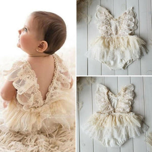 New Baby Birthday Girl Flower Lace Dress  0-24Months - asheers4u
