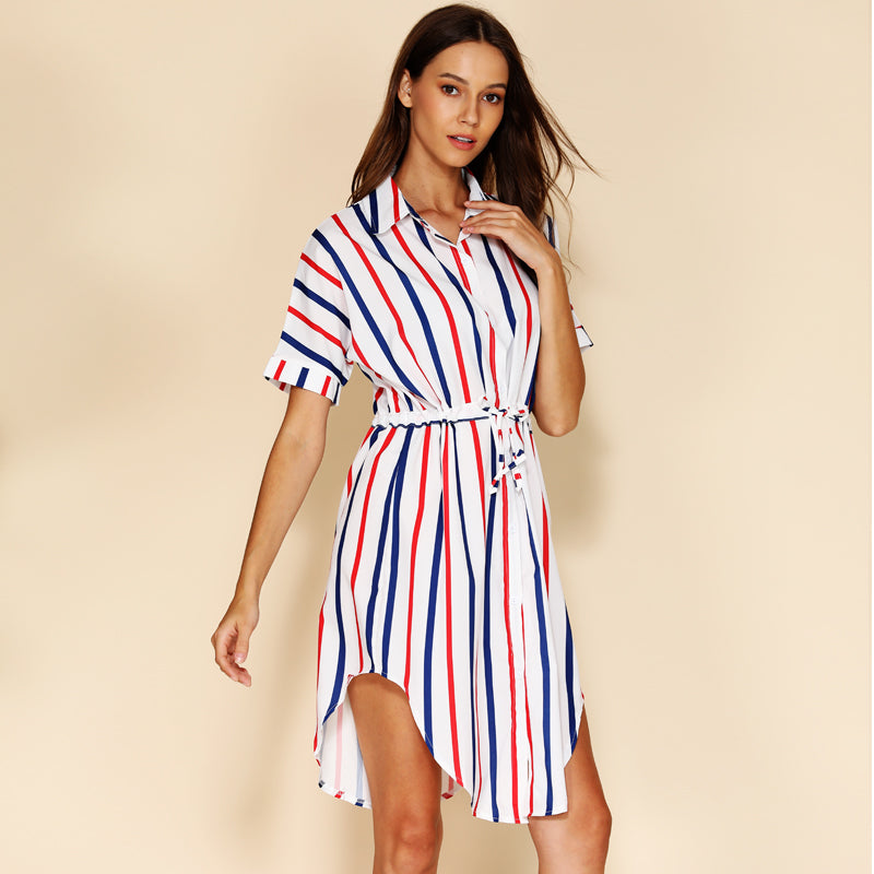 Casual Short Sleeve Loose Summer Dress - asheers4u