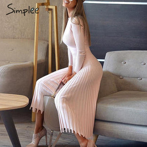 Elegant Oneck Long Sleeve Pleated Dress for Women - asheers4u