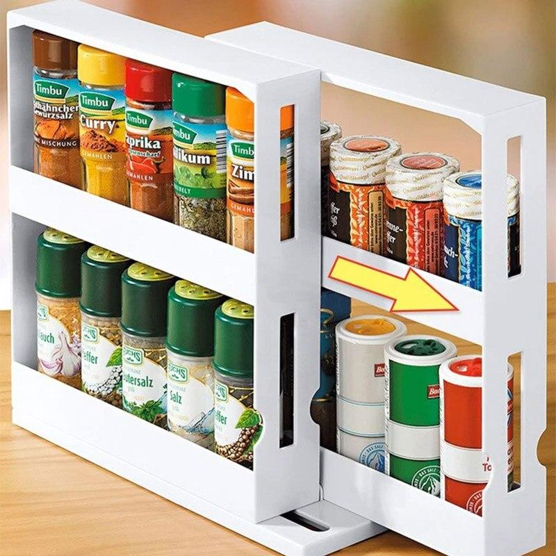 Kitchen Rotating Storage Shelf with Slide Cabinet Cupboard - asheers4u