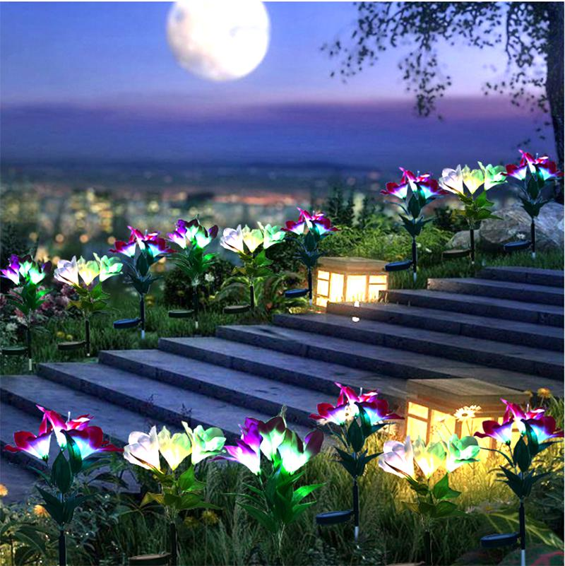 Outdoor LED Solar Light RGB Color Lily Garden Flower Waterproof Decorative Lamp 600AMH Solar Power Yard Lawn Path Wedding