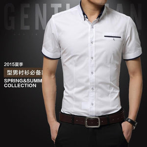 Men's Slim fit Short Sleeves Turn-down Collar Shirts ( Big Size 5XL Available) - asheers4u