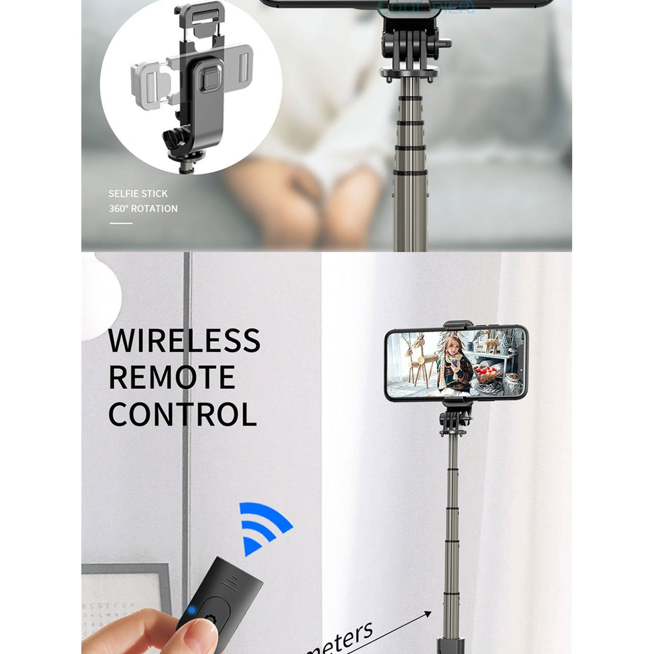 High quality Wireless bluetooth Selfie Stick with Tripod and Remote Control - asheers4u
