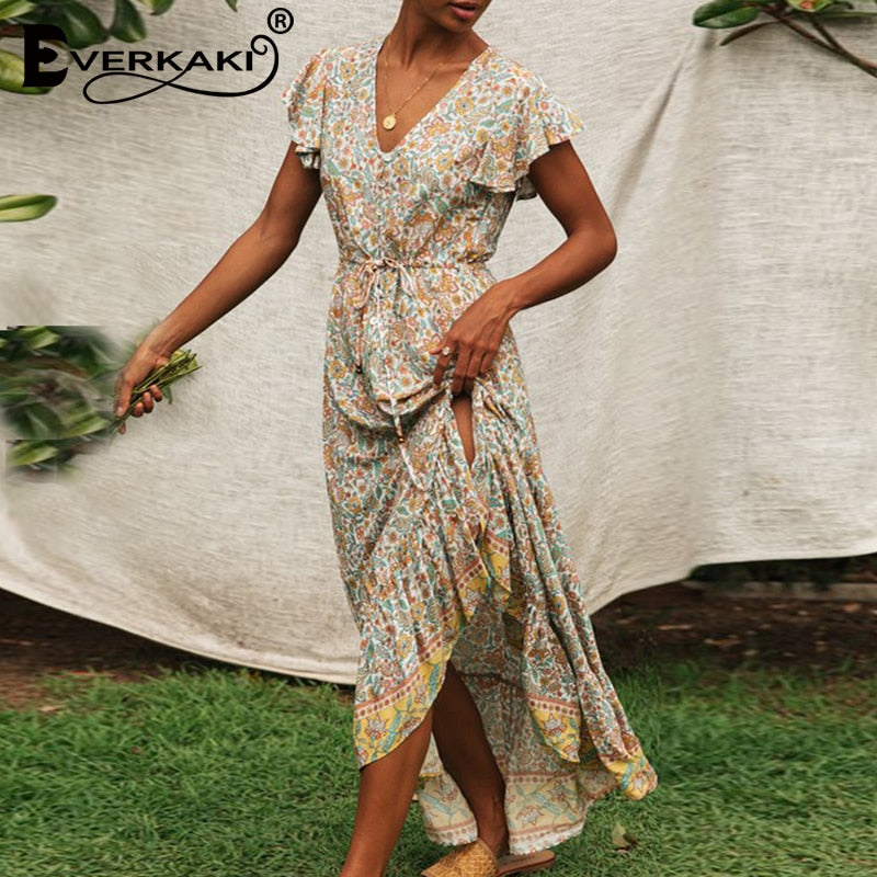 Floral Print Long Maxi Dresses for Women - asheers4u