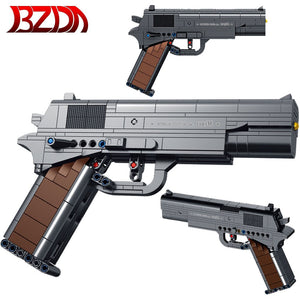 BZDA Technic Military Automatic Pistol  Building Blocks Guns Solider Weapon  Sniper Rifle Model action Moc Toys Power Kids Gifts