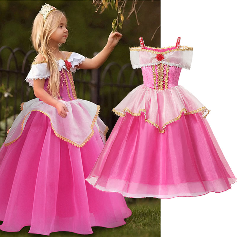 Girls Princess Ball Gown Fancy Party Prom Frocks Costume - asheers4u