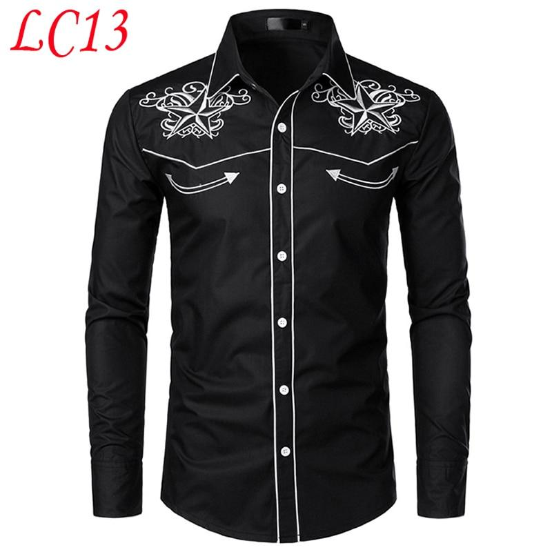 Stylish Western Cowboy Embroidery Slim Fit Casual Long Sleeve Shirts - asheers4u