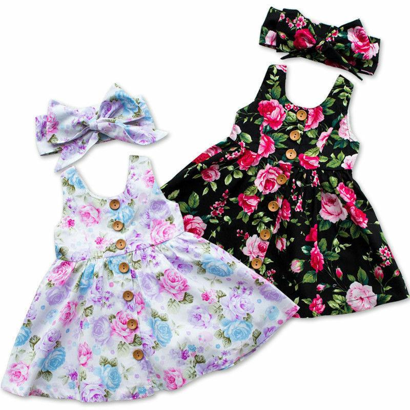 2pcs Toddler 0-4Years Floral Princess Party Dresses with Headband - asheers4u
