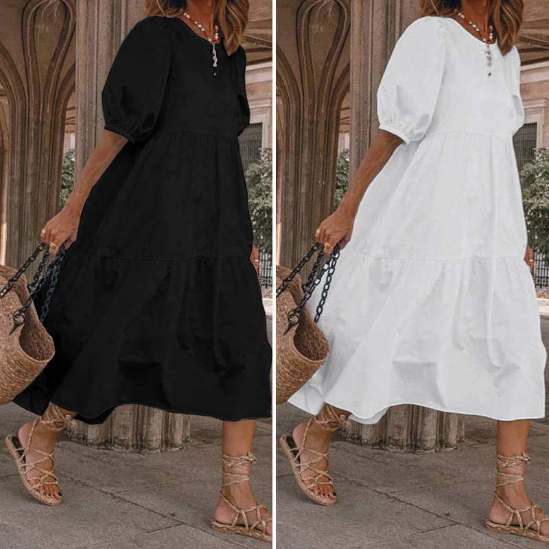 Summer Maxi Long Dress with Lantern Sleeves for Maternity,Casual Party Beach wear - asheers4u