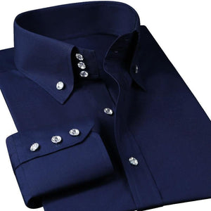 Slim Fit Casual Diamond Buttons Long Sleeve Black Shirt - asheers4u