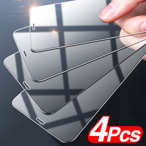 Full Cover Tempered Glass For iPhone- 4Pcs Set