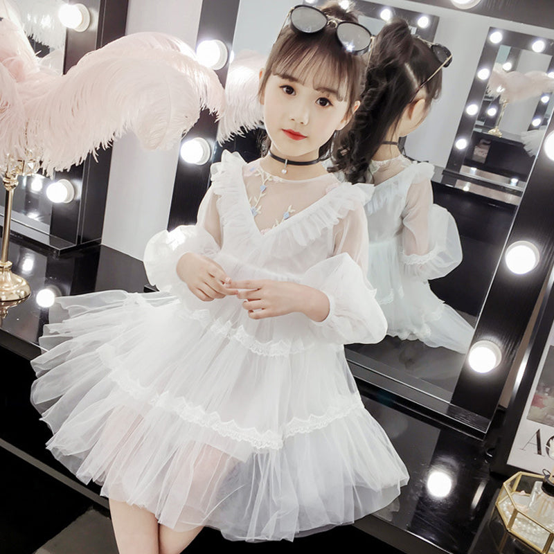 white lace tulle dress age for 3 - 12 yrs ruffle sleeveless loose frocks christmas princess costume - asheers4u