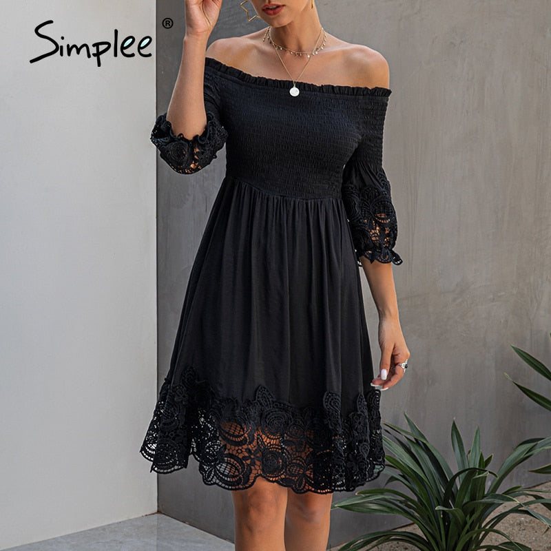 Sexy off Shoulder women Elegant black Short Dress - asheers4u