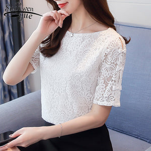 Fashion lace women short sleeve women tops - asheers4u