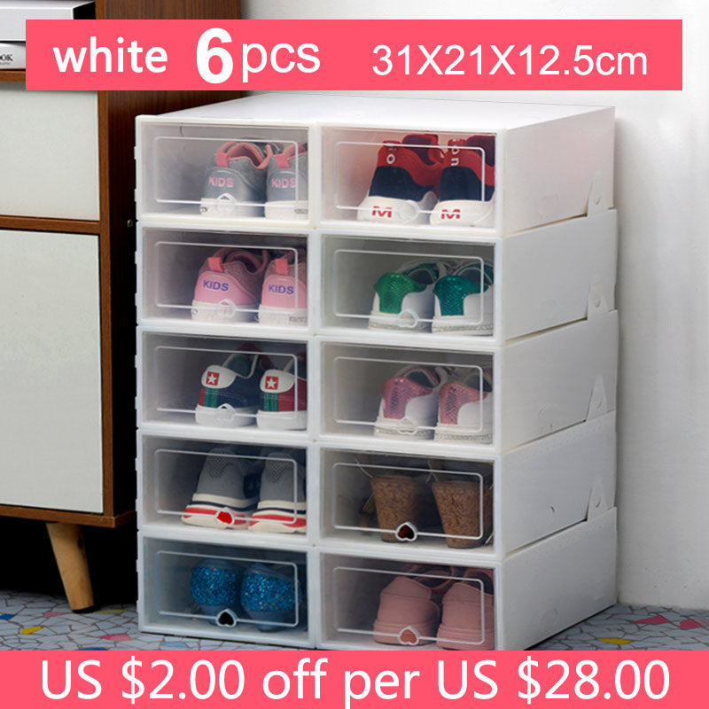 Transparent Thick Dust proof shoes organizer cabinet 6pc - asheers4u