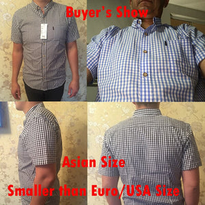 Small Plaid Shirt Men Summer New Short Sleeve Cotton Mens Dress - asheers4u