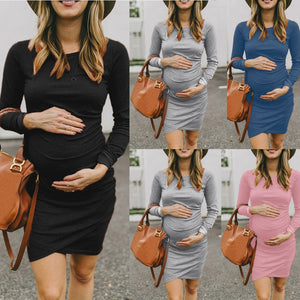 Women Long Sleeve Bodycon O-Neck Pregnancy Dress - asheers4u