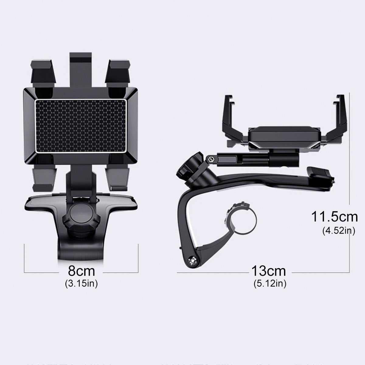 Car Multifunctional Mobile Phone Bracket 360 Degree Sun Visor Mirror Dashboard Mount GPS Stand Phone Holder With Parking Card