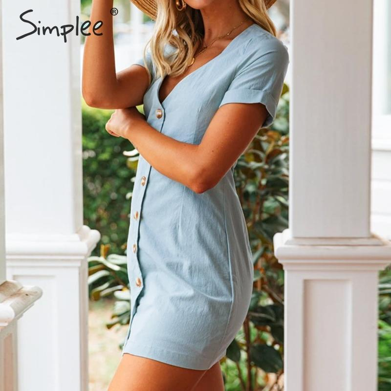 Casual v-neck A-line mini dress for Women - asheers4u
