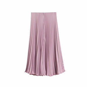 Satin High waist Purple and Pink silk Pleated skirts for women - asheers4u