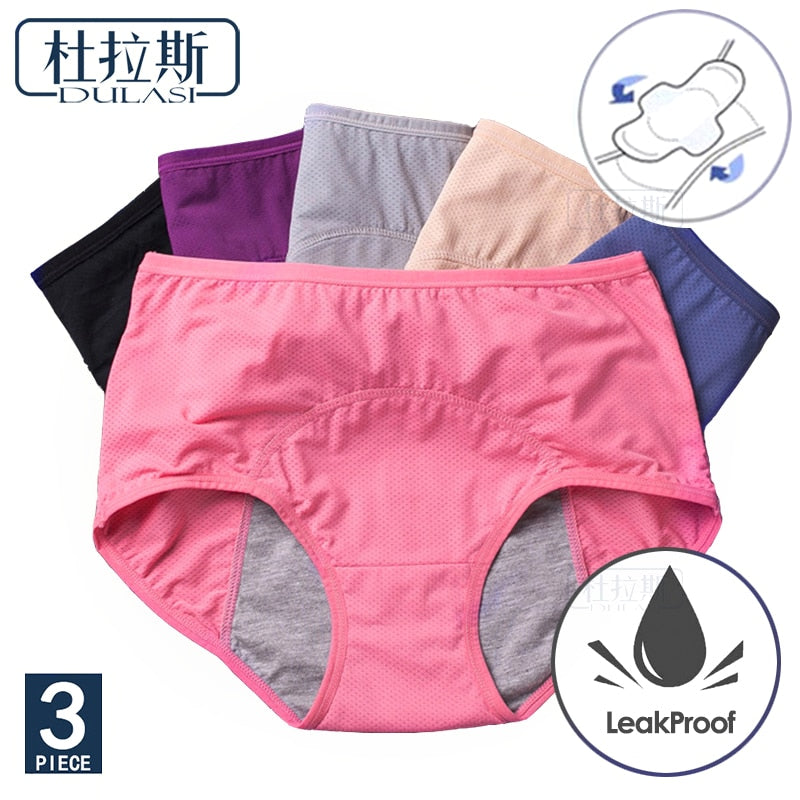 Menstrual Cotton Briefs 3pcs Set - asheers4u