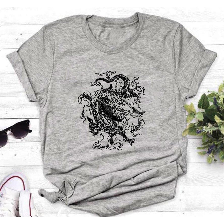 Dragon Design Women Tshirts Tops - asheers4u