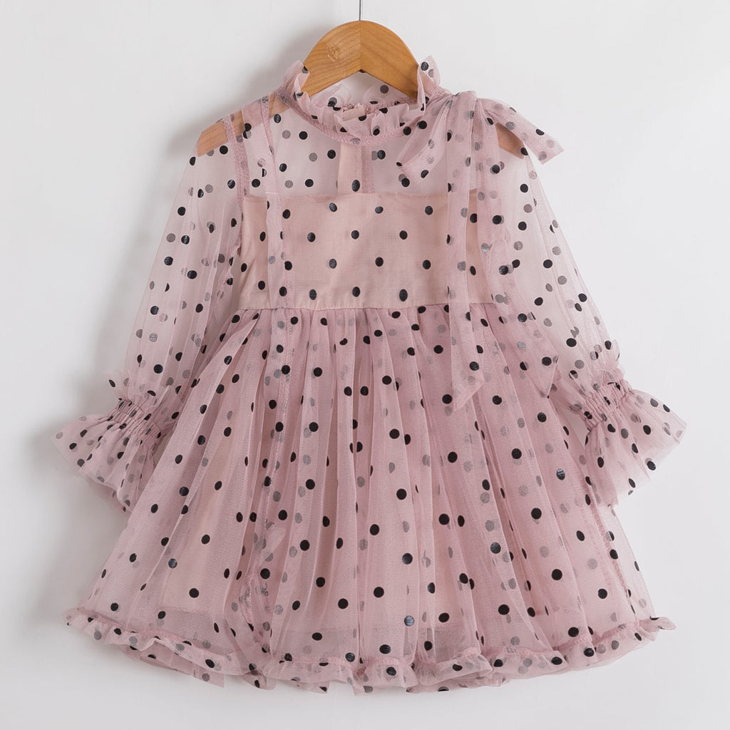 Winter Kids Dresses For Girls Long Sleeve Children Clothing Polka Dot Tulle Tutu Girls Casual School Wear Princess Party Dress