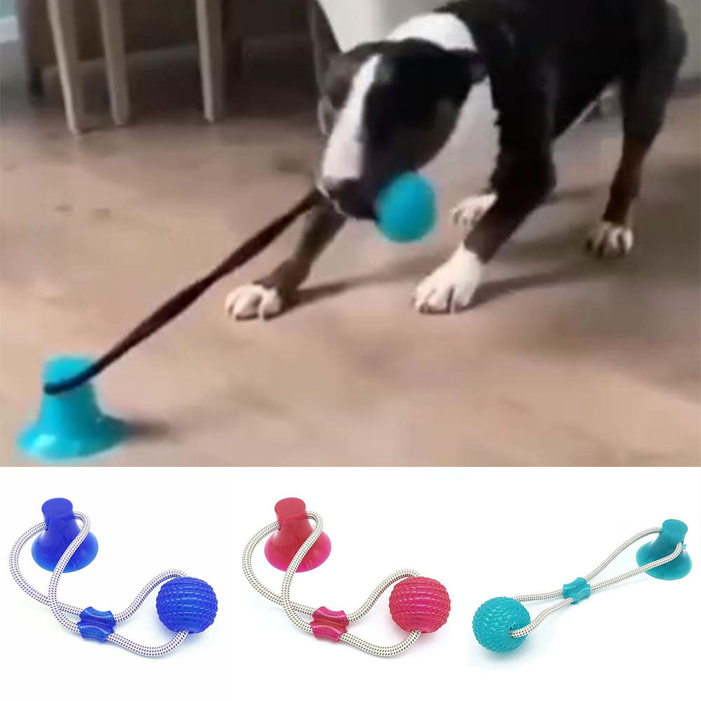 Dog Interactive Ball Toys with Elastic Ropes for Tooth Cleaning Chewing Playing - asheers4u