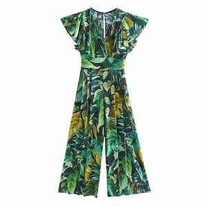 Women Tropical Green Wide Leg pants jumpsuits - asheers4u