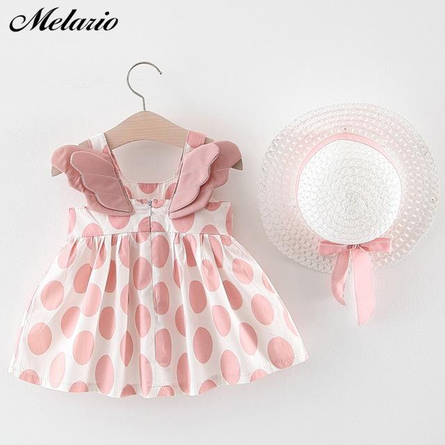Melario Baby Girls Dresses With Hat 2pcs Clothes Sets - asheers4u