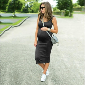 Maternity / Pregnant Women Dress Stretchy Summer Solid Color Vestidos (Plus Size 2XL Available) - asheers4u