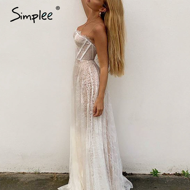 Sexy spaghetti strap white Maxi Beach Long Dress - asheers4u