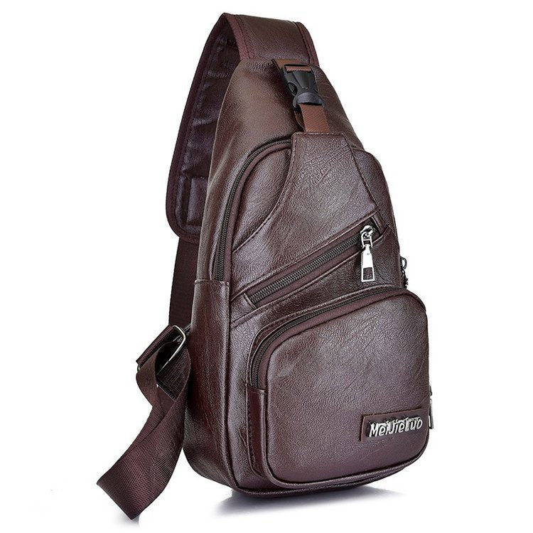 Men's Leather Sling Biker Satchel Pack Chest Shoulder Crossbody Bag - asheers4u