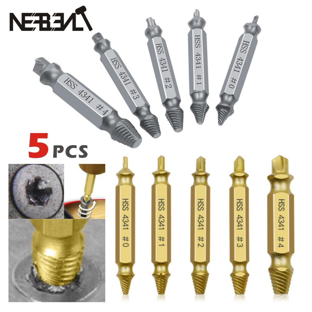 5pcs Damaged Screw Extractor Drill Bits Guide Set Broken Speed Out Easy out Bolt Stud Stripped Screw Extractor Demolition Tools