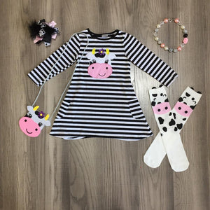 6 Pcs set striped cow cartoon Clothing set - asheers4u