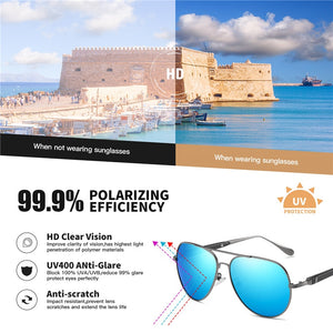 AOFLY BRAND DESIGN Pilot Sunglasses Men Polarized Metal Frame Anti-Glare Mirror Lens 2020 Fashion Fishing Sun Glasses Male UV400