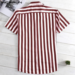 Lapel Neck Button Streetwear Casual Brand Shirts Men Hip-hop Short Sleeve - asheers4u