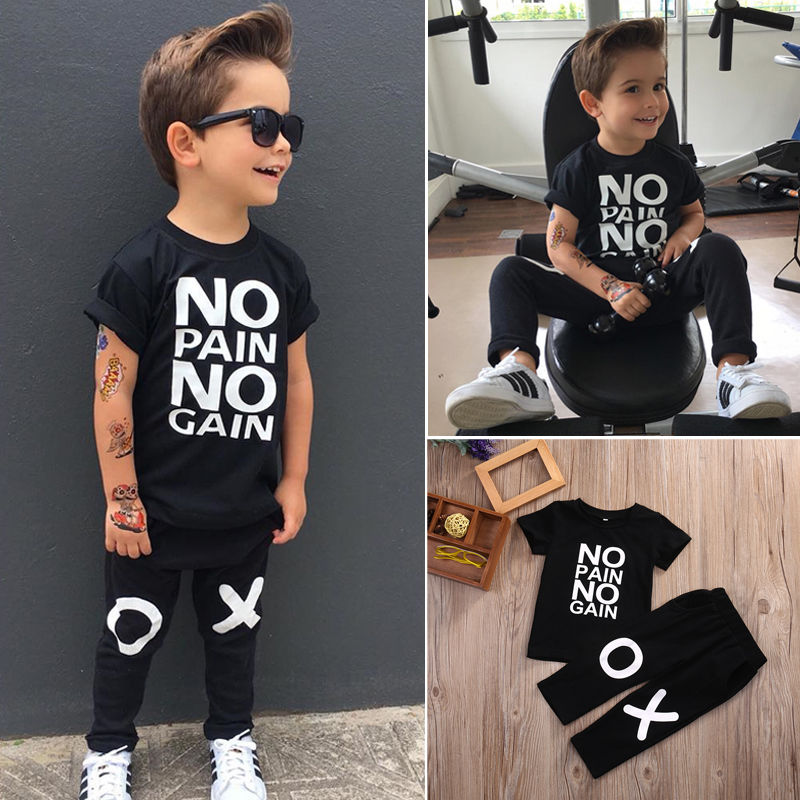 Boy Dress Set 1-6 Years Toddler T-shirt Top+Pants 2pcs Set - asheers4u