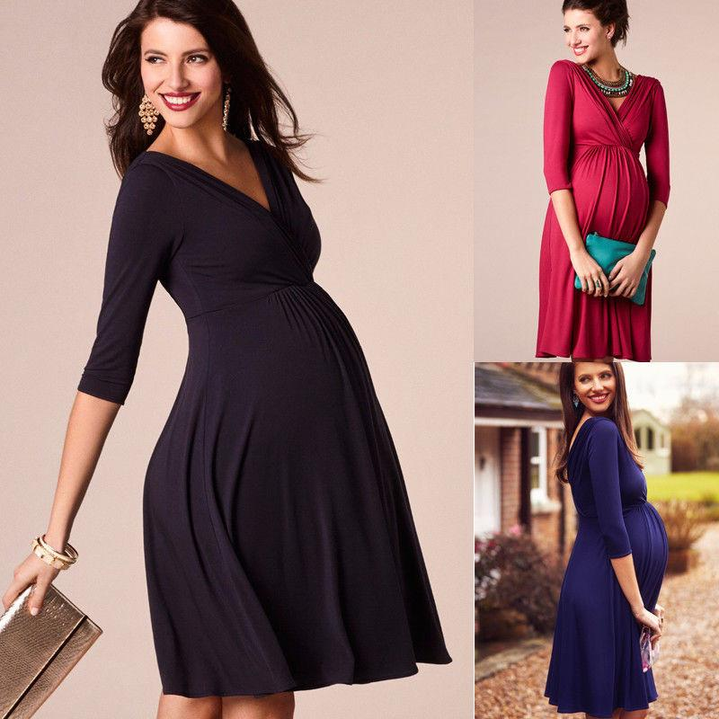 Pregnant Women Dress Casual Sexy V Neck 3/4 Sleeve Vestidos - asheers4u