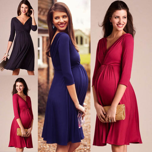 Three Quarter Sleeve Knit Maternity Super Stretch Dresses for Pregnant Mothers - asheers4u