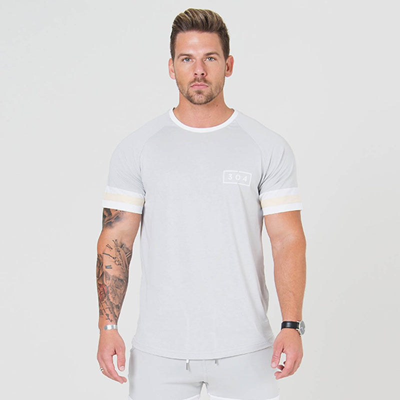 Men Cotton Short sleeve Fitness Slim Casual T-shirt clothing - asheers4u